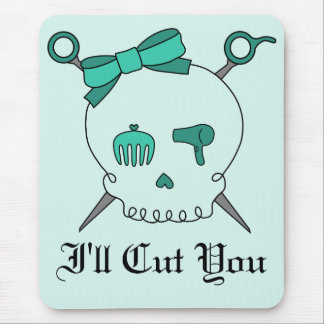 Hair Accessory Skull & Scissors (Turquoise #2) Mouse Pad