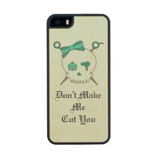Hair Accessory Skull & Scissors (Turquoise #4) Carved® Maple iPhone 5 Slim Case