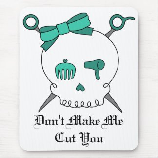 Hair Accessory Skull & Scissors (Turquoise) Mouse Pad