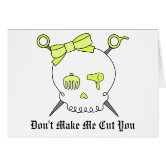 Hair Accessory Skull & Scissors (Yellow) Card