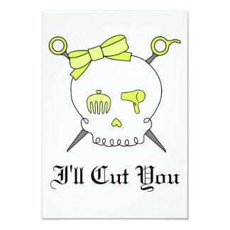 Hair Accessory Skull & Scissors (Yellow) Custom Invitation