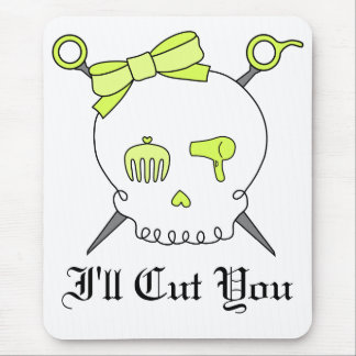Hair Accessory Skull & Scissors (Yellow) Mouse Pad