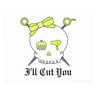 Hair Accessory Skull & Scissors (Yellow) Postcard