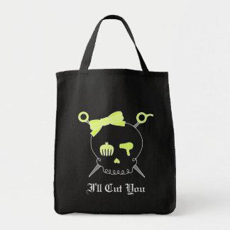 Hair Accessory Skull & Scissors (Yellow) Tote Bag