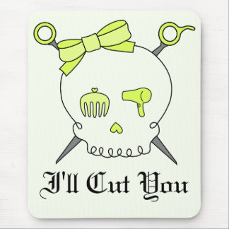 Hair Accessory Skull & Scissors (Yellow Version 2) Mouse Pad