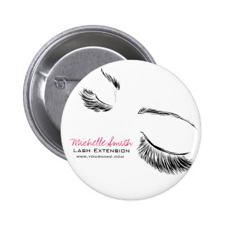 Hair and beauty Lash Extension company branding Pinback Button
