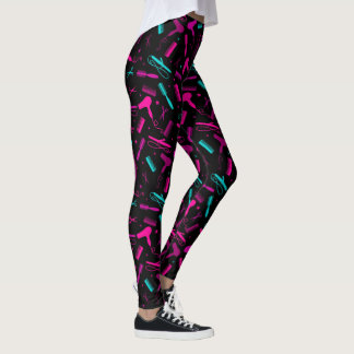 Hair and Beauty Tools - Pink Purple Teal Leggings