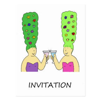 Hair and cocktails, funky beehive invitation. postcard