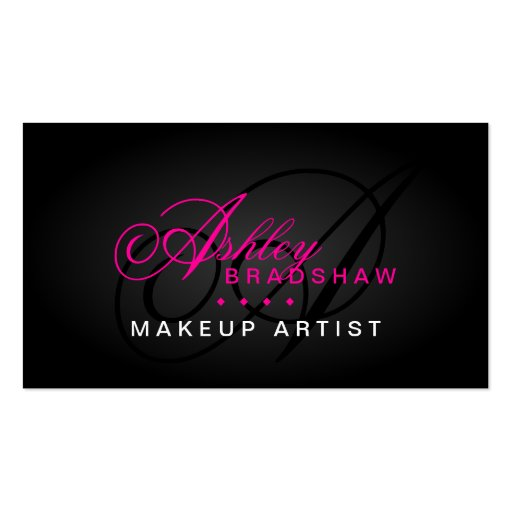 Hair and Makeup Artist Monogram Business Cards
