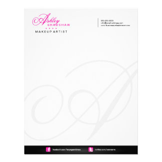 Hair and Makeup Artist Monogram Business Letterhead