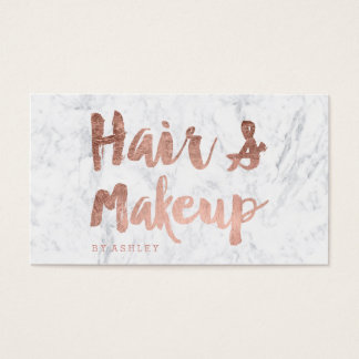 Hair and Makeup artist rose gold typography marble Business Card