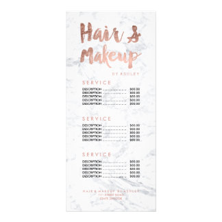 Hair and makeup gold typography marble price list rack card