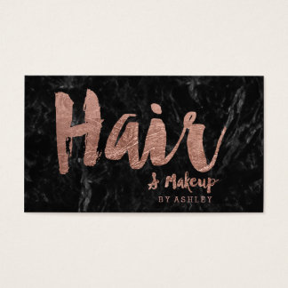 Hair and makeup rose gold typography black marble business card