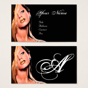 Professional Business HAIR BEAUTY MAKEUP ARTIST COSMETICS MONOGRAM Black Business Card