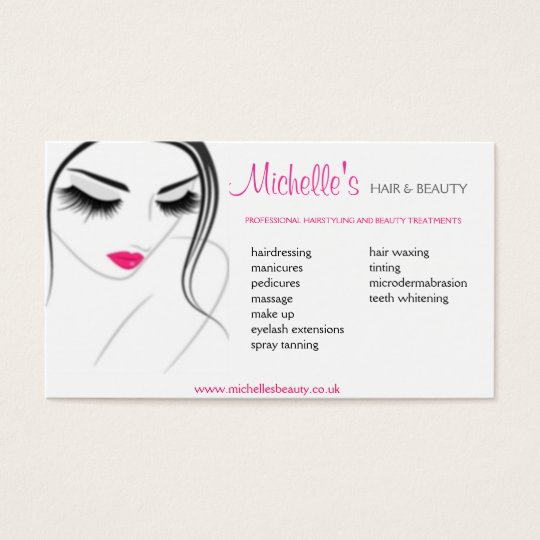 Hair beauty salon business card design zazzlecom for Hair stylist business card designs