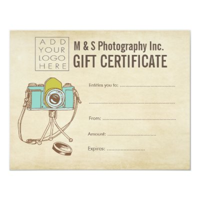 Photographer Photography Gift Certificate Template  Zazzle