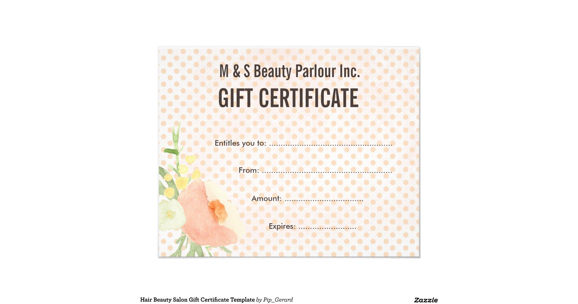 hair salon gift certificate template free