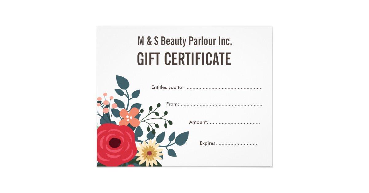 Hair beauty salon gift certificate template flyer zazzle for Zazzle gift certificate