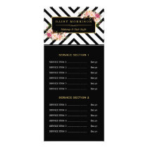 Hair Beauty Salon Gold Floral Stripes Price List Rack Card
