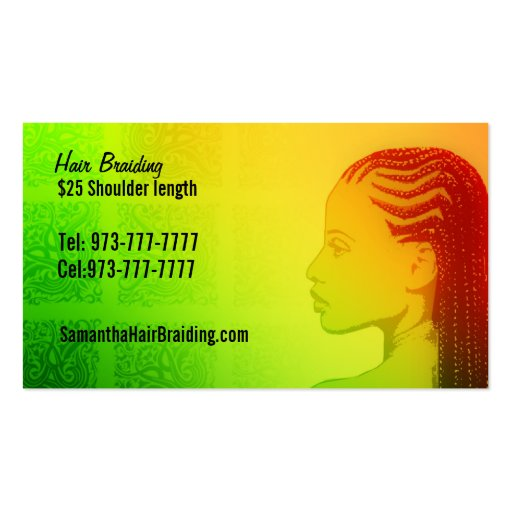 Braids business card templates bizcardstudio for Hair braiding business cards