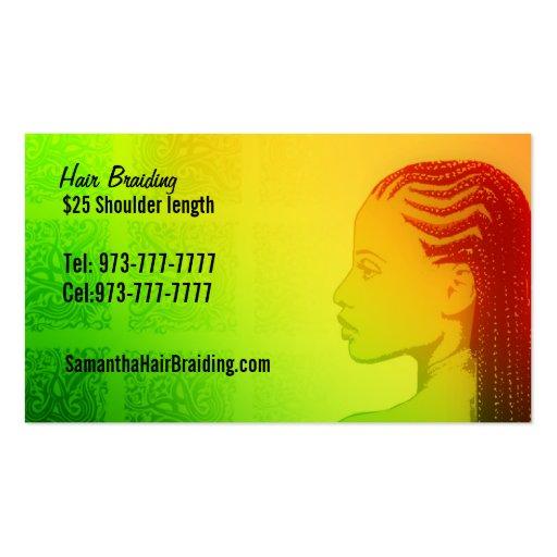 Braids business card templates bizcardstudio for Hair braiding business cards