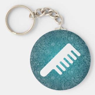 Hair Brooms Minimal Basic Round Button Keychain
