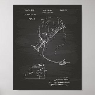 Hair Brushes 1966 Patent Art Chalkboard Poster