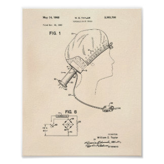 Hair Brushes 1966 Patent Art Old Peper Poster
