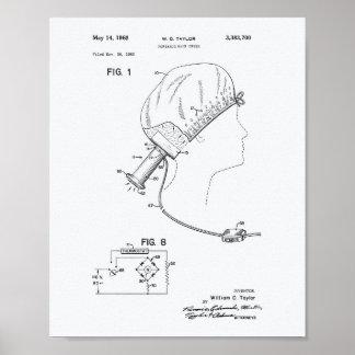 Hair Brushes 1966 Patent Art White Paper Poster