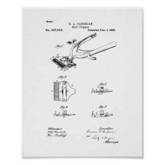 Hair Clipper Patent Poster