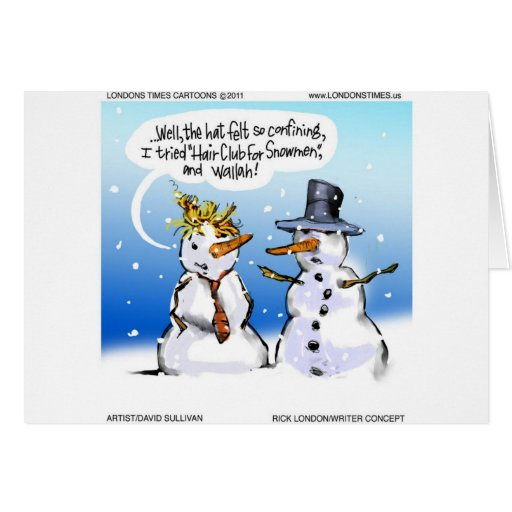 Hair Club For Snowmen Funny Christmas Greeting Card Zazzle