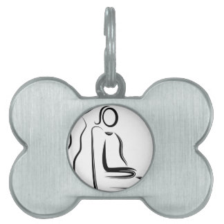 Hair Coloring Stylist Stick Figure Pet ID Tag