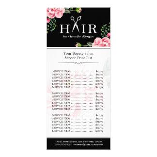 Hair Cut Scissors Logo Beautiful Floral Price List Rack Card