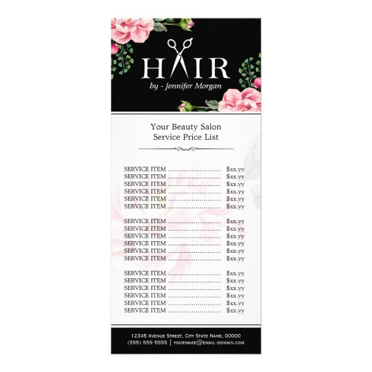 hair cut scissors logo beautiful floral price list rack
