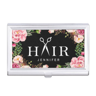 Hair Cut Typography Logo Girly Floral Decor Business Card Holder