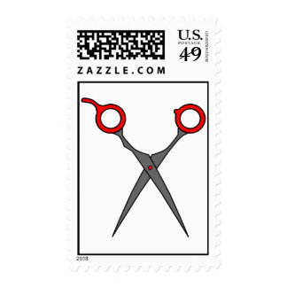 Hair Cutting Scissors (Red & Grey) Postage Stamp