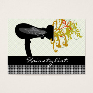 Hair Designer Hairstylist Black Gingham Patterns Business Card