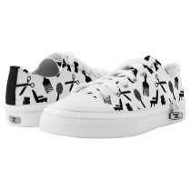 Hair Dresser Tools Pattern Black & White Low-Top Sneakers
