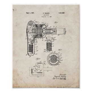 Hair Drier Patent - Old Look Poster
