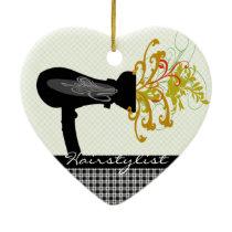 Hair Dryer Blowing  Flowers Hair Stylist Ceramic Ornament