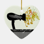 Hair Dryer Blowing  Flowers Hair Stylist Double-Sided Heart Ceramic Christmas Ornament