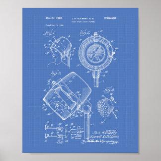 Hair Dryer System 1960 Patent Art Blueprint Poster
