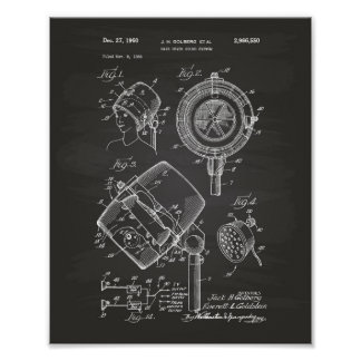 Hair Dryer System 1960 Patent Art Chalkboard Poster
