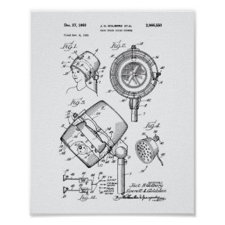 Hair Dryer System 1960 Patent Art White Paper Poster