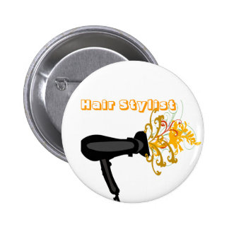 Hair Dryer with  Flowers Pinback Buttons