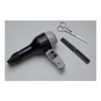 Hair dryer with scissors and comb poster