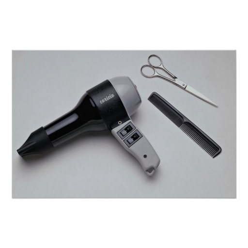 Hair dryer with scissors and comb posters