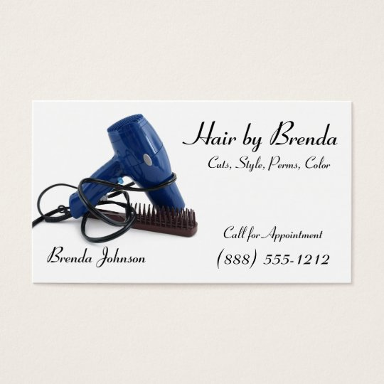 Hair Dryer with Wet Hair Brush Business Card