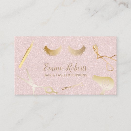 Hair eyelash extensions salon blush pink glitter business card hair eyelash extensions salon blush pink glitter business card colourmoves