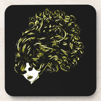 Hair Girl (Blonde and Black) Coaster